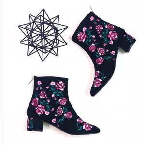 Topshop Floral Booties Size 6.5